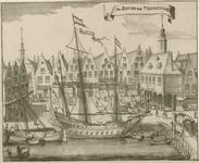 1245 Gezicht op het Beursplein te Vlissingen met Beurs en kooplieden, en schepen in de Bierhaven
