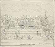 1246 Gezicht op de gevels bij de Beurs te Vlissingen en schepen in de haven