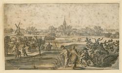 13 Gezicht op de ambachtsheerlijkheid Aagtekerke, vanuit het zuiden, met op de voorgrond enkele personen waaronder een visser