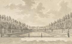 1300d Gezicht op de vijver in de tuin van het huis Elsenoord te Vrouwenpolder, met wandelaars