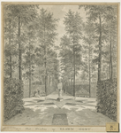 1300f Gezicht in het bos van het huis Elsenoord te Vrouwenpolder, met wandelaars en een paar op de bank