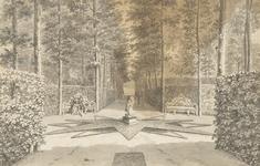 1300g Gezicht in het bos van het huis Elsenoord te Vrouwenpolder, met wandelaars en een paar op de bank
