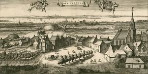 1303 Gezicht op het dorp Gapinge, in vogelvlucht, met op de achtergrond Veere en het Veerse Gat, boven het wapen van ...