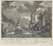 1321 Gezicht te Westkapelle, voorbij het stadhuis naar de kerk, met personen en wacht. Rechts de poort en het ...