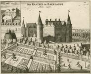 1360 Gezicht op het kasteel van de heren van Baarland met tuin en wapen van Zeeland, en personen met paarden, en ...