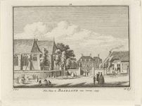 1364 Gezicht op het kasteel te Baarland aan de voorzijde met een deel van de Nederlandse Hervormde kerk en personen, ...