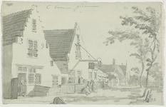 1376-1 Gezicht in het dorp Borssele, met vrouwen voor de huizen, een uithangbord, en boven een aantekening