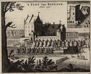 1388 Het slot Ellewoutsdijk in 1500, met personen, en rechtsboven afbeelding van de ruïne in 1695