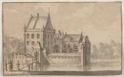 1389 Het slot Ellewoutsdijk, met op de brug een wacht in 17de-eeuwse kledij tussen palen met leeuwen, houdende een ...