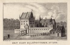 1390 Gezicht op het slot Ellewoutsdijk, met linksonder een wacht