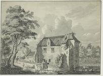 1395 Gezicht op de ruïne van het kasteel van Ellewoutsdijk, met een ooievaarsnest, personen en een herder met vee