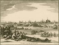 1404 Gezicht op de stad Goes, aan de zijde van de Westpoort of 's-Heer Hendrikskinderenpoort, vanuit het zuidwesten, ...