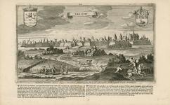 1405 Gezicht op de stad Goes van de landzijde, met op de voorgrond personen, de wapens van Zeeland en Goes en onder ...
