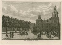 1419 Gezicht op een deel van de Grote Markt te Goes met het nieuwe stadhuis (1771-1775), en personen