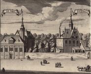 1429 Gezicht op de schuttershoven van de edele handboog en edele voetboog te Goes, met voorbijgangers