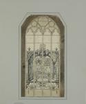 1438 Een gebrandschilderd raam in de westgevel van de Grote of Maria Magdalenakerk te Goes, met voorstelling van de ...