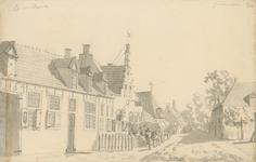 1463b Gezicht in het dorp 's-Gravenpolder met herberg, tevens rechtshuis en boven aantekeningen