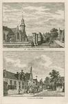1464 Twee gezichten in het dorp 's-Gravenpolder, met Nederlandse Hervormde kerk en herberg, tevens rechtshuis, en ...