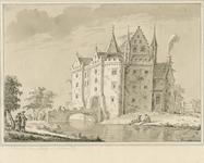 1470 Gezicht op het huis te Baarsdorp, afgebroken eind 16de eeuw, met personen en tuinman