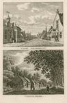 1497 Twee gezichten in het dorp Heinkenszand, met toren van de Nederlandse Hervormde kerk, en personen, op 1 plaat