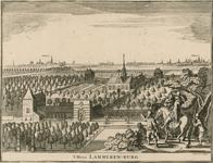 150 Gezicht op het huis Lammerenburg te Koudekerke (Walcheren), met op de achtergrond de steden Middelburg en Vlissingen
