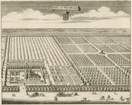 1506 Gezicht op het huis Watervliet te Heinkenszand, in vogelvlucht, met het wapen van de Perponcher Sedlnitzky