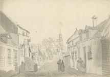 1508a Gezicht in de dorpsstraat van Hoedekenskerke, naar de toren van de Nederlandse Hervormde kerk, met personen