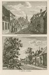1509 Twee gezichten in de dorpsstraat van Hoedekenskerke, met toren van de Nederlandse Hervormde kerk, een vate, en ...