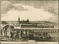 153 Gezicht op het huis Zwanenburg te Koudekerke (W.), met op de achtergrond de stad Vlissingen