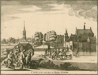 1531 Gezicht op het kasteel Maalstede, met op de achtergrond het dorp Kapelle met de Nederlandse Hervormde kerk, en op ...