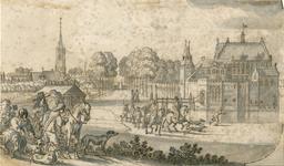 1532 Gezicht op het kasteel Maalstede, met op de achtergrond het dorp Kapelle met de Nederlandse Hervormde kerk, en op ...