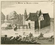 1536 Gezicht op het kasteel Maalstede te Kapelle, met personen, een rijtuig, en op de voorgrond ruiters met honden