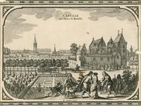 1541 Gezicht op het kasteel Bruelis, met een ooievaar op een schoorsteen, personeel in afwachting van een rijtuig, op ...