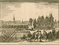 1542 Gezicht op het kasteel Bruelis, met een ooievaar op een schoorsteen, op de achtergrond het dorp Kapelle, achter ...