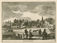 1552 Gezicht op het dorp Biezelinge, met de haven, een trekschuit, op de achtergrond de kerk van Eversdijk, en personen ...