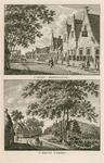 1554 Twee gezichten in de dorpsstraat van Biezelinge, met personen, op 1 plaat