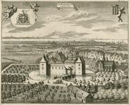 1574 Gezicht op de heerlijkheid Kruiningen, in vogelvlucht, vanuit het noorden, met het slot, het dorp en personen, op ...
