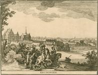 1575 Gezicht op het slot en het dorp Kruiningen, met op de achtergrond de Schelde, en op de voorgrond een gezelschap te ...