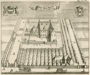 1589 Gezicht op het kasteel Voorhout te Kruiningen, in vogelvlucht, met tuin en boomgaard, op de binnenplaats een ...