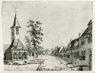 1602a Gezicht in het dorp Ovezande met Nederlandse Hervormde kerk en afslagershuisje