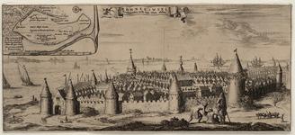 1603 Gezicht op de stad Reimerswaal, vanaf de landzijde, vóór de stormvloed van 1570, met personen op de voorgrond, en ...