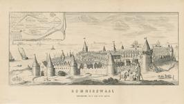 1604 Gezicht op de stad Reimerswaal, vanaf de landzijde, vóór de stormvloed van 1570, met personen op de voorgrond, en ...