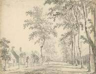 1644 Gezicht in het dorp Waarde, met travalje, en personen, en aantekening linksboven