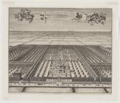 165 Gezicht op het huis Steenhove te Koudekerke (W.), in vogelvlucht, met de familiewapens Honigh-van Roubergen en ...