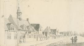 1653b Gezicht in het dorp Wemeldinge, met herberg, en personen, en boven aantekeningen