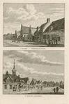 1654 Twee gezichten in het dorp Wemeldinge, met herberg, en personen, op 1 plaat