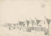 1655a Gezicht in het dorp Wemeldinge, met vrouwen, en boven aantekeningen