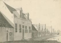 1655b Gezicht in het dorp Wemeldinge, met personen, en boven aantekeningen