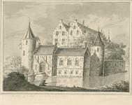 1665 Gezicht op het kasteel Muiden op de Piet te Wolphaartsdijk, van de andere zijde, met een visser