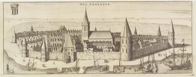 1672 Gezicht op de stad Kortgene, in vogelvlucht,vanuit het zuiden, verdwenen door de vloeden van 1530 en 1532, met ...